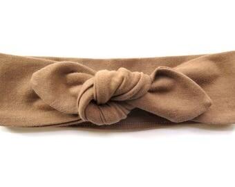 Cocoa Brown Baby Headband - Top Knot Headband - Stretch Headband - Vintage Style - Boho Baby - Tribal Style - Natural Fawn Tan