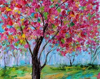 Spring Elegance landscape abstract painting original oil on canvas palette knife 12x16 impressionism fine art by Karen Tarlton