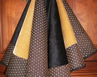 """38"""" Beautiful Black Gold and Patterned Velvet Reversible Christmas Tree Skirt 2016 Collection"""
