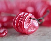 Lustred raspberry red rose petal beads, Czech glass beads, red flower petal beads, 8x7mm, off-centred hole beads (50 pcs) NEW