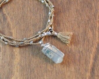 Raw Aquamarine Wrap Bracelet - Silk and Sterling Silver - One of a Kind