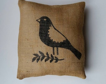 Burlap Pillow-Accent Pillow-Black Bird Pillow-Rustic Pillow-Throw Pillow-Portrait View Style Pillow