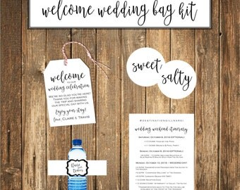 Welcome Wedding Bag Kit, Wedding Favors, Welcome Bags, Water Bottle Labels, Wedding Stickers, Wedding Weekend Itinerary
