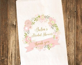 Custom Printed Candy Buffet Bag-Bridal Shower Favor bag- Bridal Shower Candy Bag 25 count
