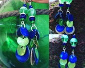 Shorter Blue and Green  Glow in the Dark Shell Earrings