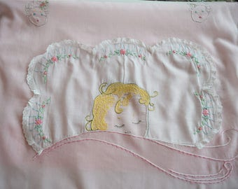 Vintage PINK BABY BLANKET Embroidered Infant Girl Face Head Embroidery Batiste Pink Rose Floral Coverlet 40s Crib Wall Hanging Child Nursery