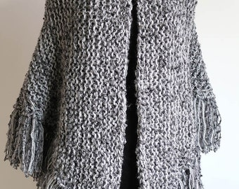 XX Large Size Light Dark Gray Color Textured Knitted Wrap Blanket Shawl Stole with Fringes