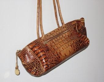 Vintage Brahmin Croc Embossed Leather Handbag Purse Pecan Caramel Brown Color - Toasted Almond?