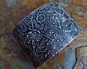 Oxidized silver carnations cuff