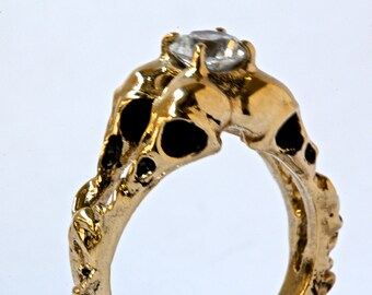 Four Bird Skulls Ring Solid Gold Diamond Engagement Ring Made In NYC