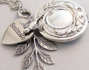 Soulmate Locket,Love Necklace,Heart,Bird,Personalized Necklace,Custom Necklace,Monogram,Initial Necklace,Silver Necklace,soulmate jewlery