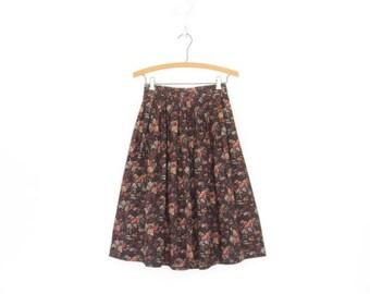 SALE Vintage Floral Skirt * Midi Skirt * Pleated Skirt * Romantic Rose Skirt * XS
