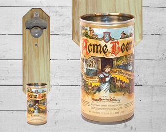 Acme Wall Mounted Bottle Opener with Vintage Renaissance Beer Can Cap Catcher