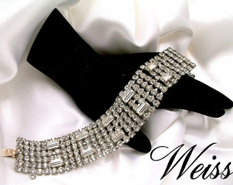 Vintage Wide 6 Row Sparkling Clear Rhinestone Bracelet Signed Weiss