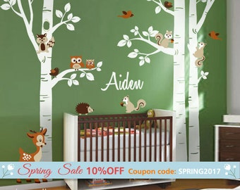 Forest Animals Birch Trees Wall Decal for Nursery, Woodland Animals Wall Decal, Forest Animals Wall Decal, Baby Room Sticker, Owl Deer Decal