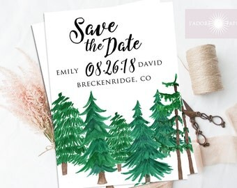 Save the Date Invite, Forest Save the Date, Mountain Save the Date, Engagement Announcement, Wedding Announcement, Watercolor, jadorepaperie