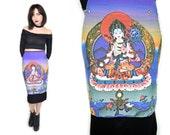 VTG 1990s Buddhist Goddess Tara High Waisted Cyber Girl Bodycon Tube Skirt Elephant God Zen