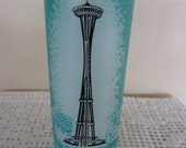 Vintage 1962 Seattle World's Fair Space Needle Drinking Glass Aqua Frosted Glass