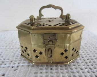 Vintage Brass Cricket Box Small Boho Trinket Box