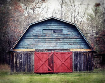 Barn Photo, Rustic Barn Photograph, Blue Barn Photo, Rustic Home Decor, Rustic Farmhouse Decor, Country Home Decor, Old Barn Photo