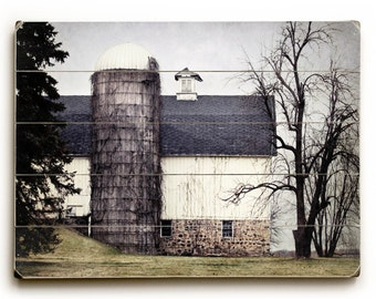 Rustic Barn Art, Wood Plank Wall Art, White Barn on Wood, Farmhouse Decor, Rustic Barn photograph, Wood Plank Sign, Country Decor, Wood Sign