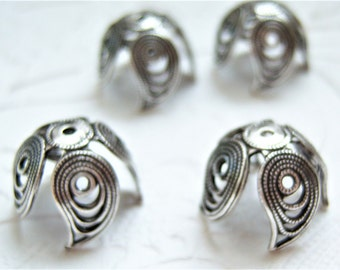 4 - Antique silver filigree leaf petal bead caps, - CL236