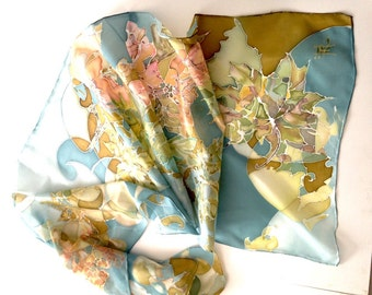 """Hand painted silk scarf for women """"Autumn in the air"""" woman silk scarves collection - floral silk scarf"""