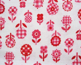 Concord Cotton Blend Fabric Yardage Floral Pink Gingham Flowers – 1 1/4 Yards