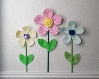 fabric wall flower, nursery/ girls room wall decor, pink fabric wall flower, baby shower gift