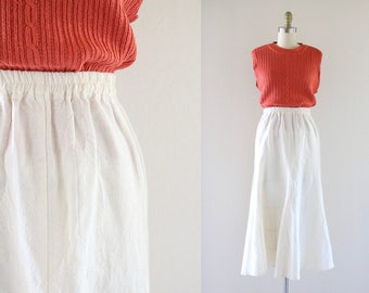 70's natural cotton flared maxi skirt /s