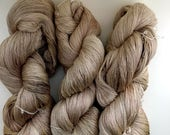 Vintage Coffee Cream Silk/Wool Hand Dyed Laceweight
