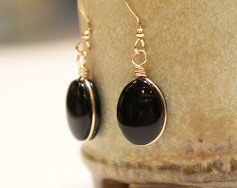Black Onyx Gemstone Gold Filled Handmade Minimalist Earrings