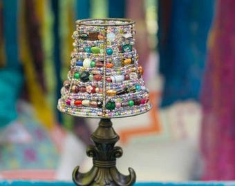 Home Decor- Beaded Lamp Shade- Mini Lamp Shade- Blue Beaded Lamp Shade - Boho Home Decor- Upcycled Lamp Shade