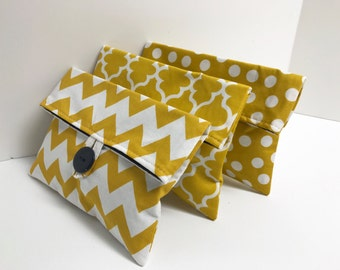Set if 3 Gold and Navy Makeup Bags - Ready to Ship