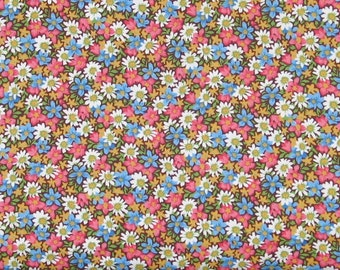 Pink, Blue, Gold, Green, and White Floral on a Brown Background 100% Cotton Quilt Fabric from Marshall Dry Goods, Calico, MDGCountry-07Red