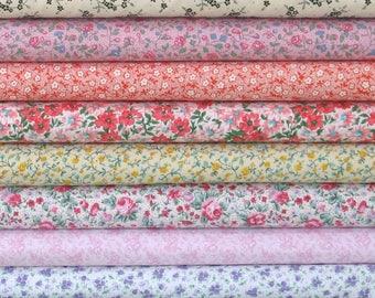 Eight Calico Fat Quarters, Fat Quarter Bundle for Sale, Quilt Fabric Bundle, Pink, Orange, Green, Purple, Yellow