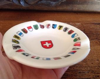 Vintage ashtray-Hard Plastic Swiss Ashtray. European Switzerland- european- smokers gift guide-wedding gift guide-swiss- vintage ashtray-art