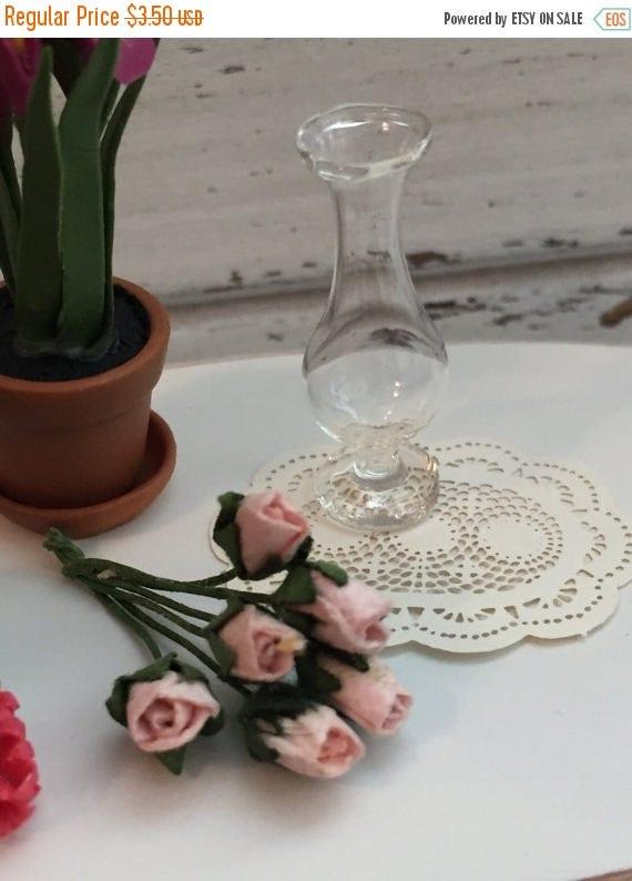 SALE Miniature Glass Vase, Dollhouse Miniature, 1:12 Scale, Dollhouse Accessory, Decor, Mini Vase, Glass Vase