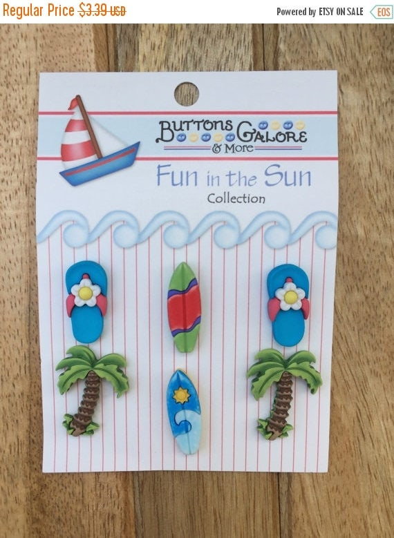 """SALE Beach Buttons, Palm Trees, Surfboards, Flip Flops, Carded Novelty Buttons by Buttons Galore, Fun in the Sun Collection, """"Paradise Found"""