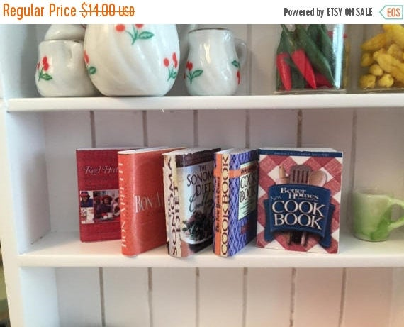 SALE Miniature Cookbooks, 5 Piece Set, Dollhouse Miniatures, 1:12 Scale, Mini Books, Dollhouse Kitchen Accessory, Cooking