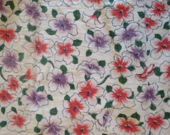 Vintage CLOSED Feedsack Floral Print Fabric Purple Orange