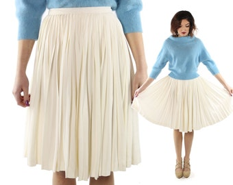Vintage 60s Pleated Skirt Ivory Full Sweep High Waisted 1960s Preppy Rockabilly Pinup Fashion X-SMall