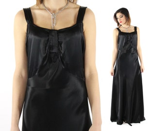 Vintage 40s Evening Gown Black Satin Cocktail Party Dress Sleeveless Floor Length Nightgown 1940s Medium M Large L