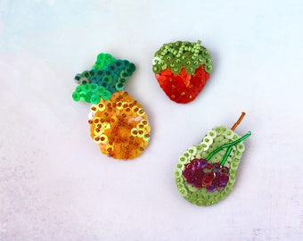 Sequin Fruit Brooch, Cherry Berry Pear, Ananas Pineapple Jewelry, Felt Sequins Embroidery, Garden Tropical Jewelry, Kawaii Summer Food