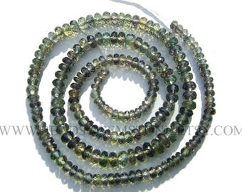 Gemstone Beads, Green Sapphire Beads Faceted Roundel (Quality A+) / 3 to 5 mm / 40 cm / SAPPHI-005