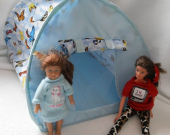Pop up TENT for Barbie  Blythe trolls Mimi American dolls or stuffed animals n more