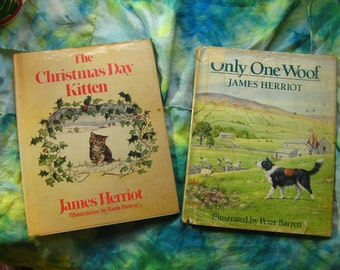 The Christmas Day Kitten and Only One Woof JAMES HERRIOT Set of 2 Hardback Children's Books, Hardcover Books Heartwarming Tales Cat Dog Pets