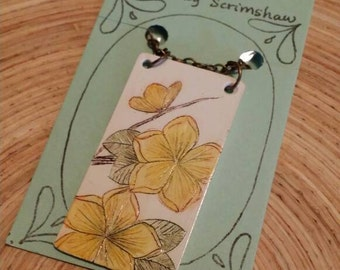 Scrimshaw Necklace Intricate Yellow Dogwood Swag Design OOAK Great Gift Idea