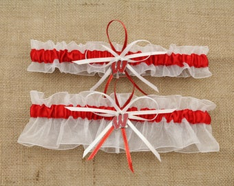 Wedding Garter Set with University of Wisconsin Colors, Bridal Garter, Prom Garter  (Your Choice, Single or Set