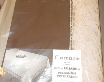 Vintage Table Cloth CHARMANTE new in original package Brown with Ecru Lace
